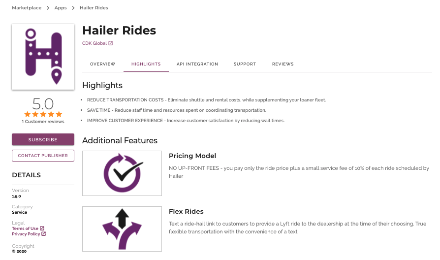 Sample App Listing